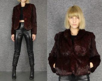 vtg 70s dark burgundy rabbit fur avant garde jacket S