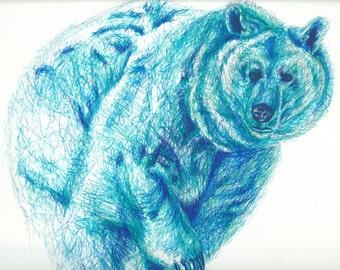 Blue Bear Postcard