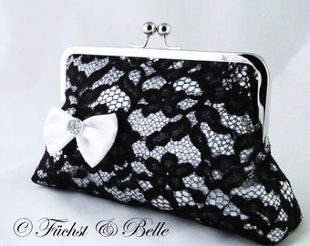 Sexy Lace clutch - Satin white bow with rhinestone on black lace purse - for bridesmaid - Ready to ship