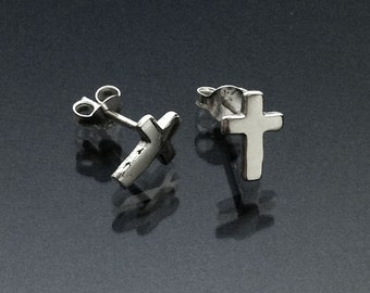 925 Solid Sterling Silver CROSS Earrings / Christian Jewelry / Confirmation Gift / Baptism Gift- Small- Oxidized- Studs