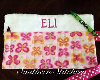Large Crayon Roll 12 crayon Personalized Crayon Holder Crayon Roll Great for Gifts Flower Girl Ring Bearer Stocking Stuffer