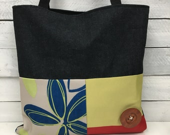 tote bag, tote bag, blue flower, red accents