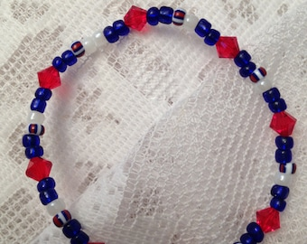 Stretchy Red White and Blue Bracelet
