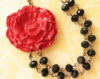 Statement Necklace Flower Necklace Bib Necklace Red Jewelry Black Necklace Gift For Her Multi Strand