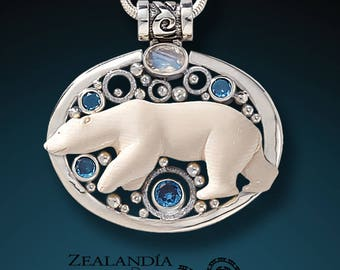 Arctic Lights - Carved Bone Bear Pendant with Blue Topaz and Rainbow Moonstone