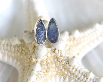 Rough Tanzanite Stud Earrings