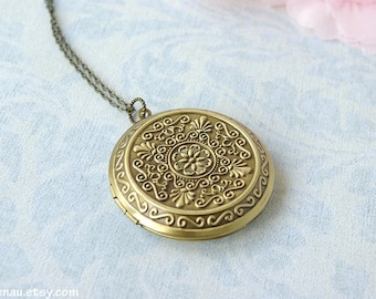 Large round locket necklace, Brass filigree photo locket pendant Floral vintage style picture locket, Long necklace romantic, Christmas gift