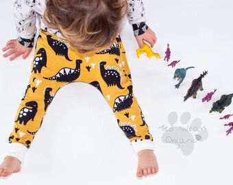 Organic Harem Pants: Baby Harem Leggings, Organic Baby Leggings, Toddler Harems, Hipster Baby, Toddler Gift, Dinosaur Leggings, Yellow Harem