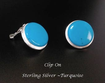 Clip On Earrings 354:  Sterling Silver Clip On Earrings with Turquoise Gemstone, Deep Blue | Silver Earrings, Gifts for Women, Mother, Mum