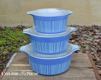 Rare Vintage Set of Pyrex - Blue Stripe Barcode  - Casserole Dishes with Lids 473, 474, 475