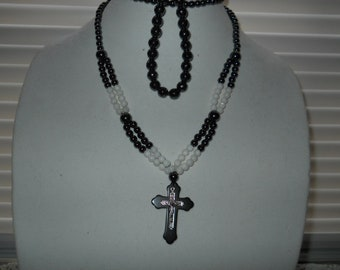 Black Onyx And White Beaded Necklace And Bracelet #833