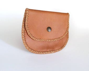 Leather Coin Bag, Change Purse with Wax Linen, Handmade Wallet