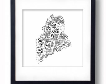 Maine - Hand drawn illustrations and type