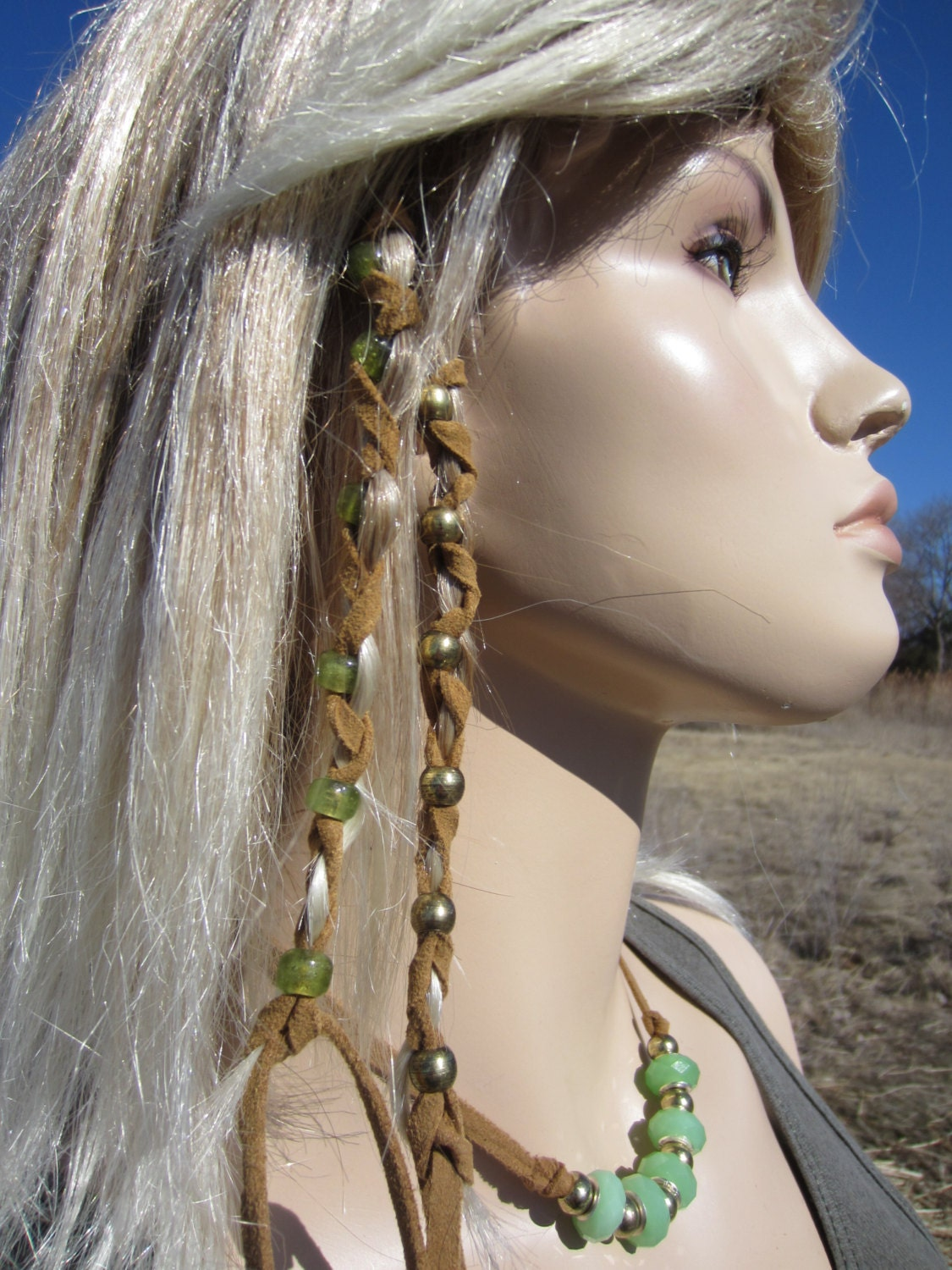2 leather hair wraps hair tie braid ponytail holders bead hair zoom pmusecretfo Image collections