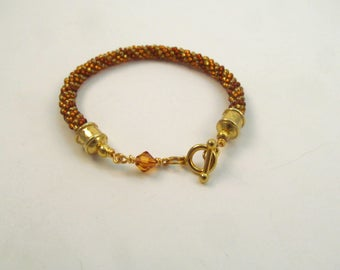 Beaded Kumihimo Bracelet in Spiral Pattern with Swarovski Crystal