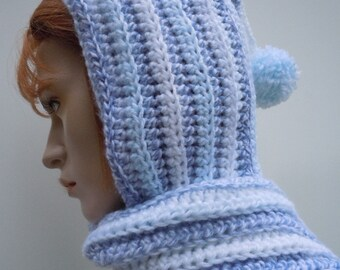 Blueberries and Ice Blues Pixie Hood - Hooded Scarf -Womens Hat and Scarf - Crochet