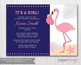 Flamingo Baby Shower Invitation, COLOR OPTIONS, Boy or Girl, Customizable Colors & Information- Digital File -  Item 150
