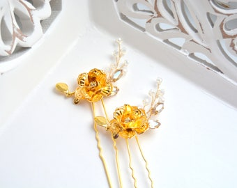 Bridal hair pins Wedding hair pins Gold hair pins Flower hair pins Bridal bobby pins Rhinestone hair pins Bridal hair piece Wedding hair pin