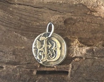 Beautiful Scroll wax seal monogram charm of fine silver