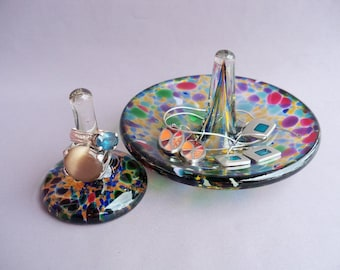 Hand Blown Glass Jewelry Tray and Ring Holder,Art Glass, Multicolored