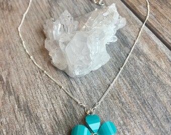 Turquoise Colored Flower Necklace, Dainty Silver Necklace, Precious Gem Necklace, Precious Gem Jewelry, Delicate Necklace