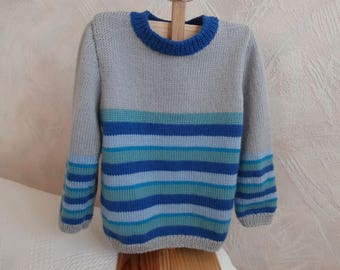 Different shades of blue striped wool sweater 4t