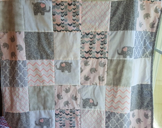 Pink And Gray Elephant Baby Quilt Pink Elephant Nursery