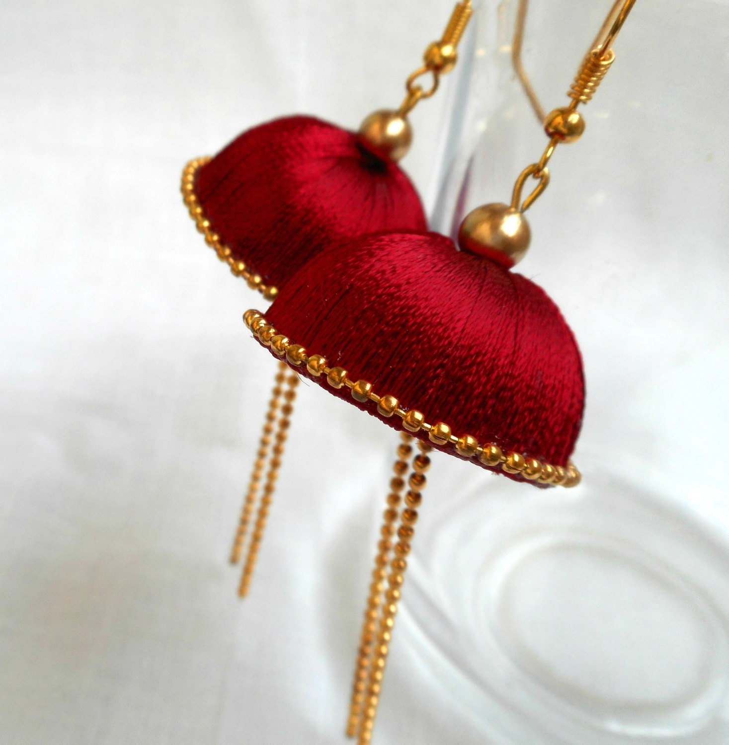 ruby design silk earrings tassel collections co ore