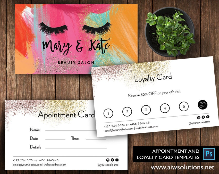 Nail Salon Loyalty Cards Salon Loyalty Business Card spa
