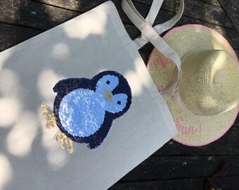Tote Bag, Reversible Colour Change Sequin - Penguin