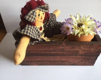 1 Decorative Rustic box with Raggedy Ann and flower pot