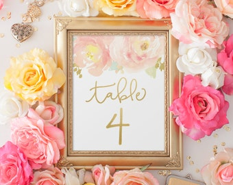 """Watercolor Blush Peony with Gold, Wedding Table Numbers 1-25,  5x7"""" PRINTABLE"""