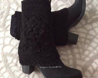 Best Selling Cuffs, Crochet Black Boot Cuffs with Flower, Leg Warmers, Fall Winter Fashion Accessories