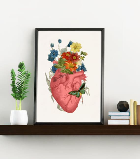 Flowery heart with a butterfly art Print Human anatomy  print- Chic wall art, Human anatomy and flowers art SKA088WA4