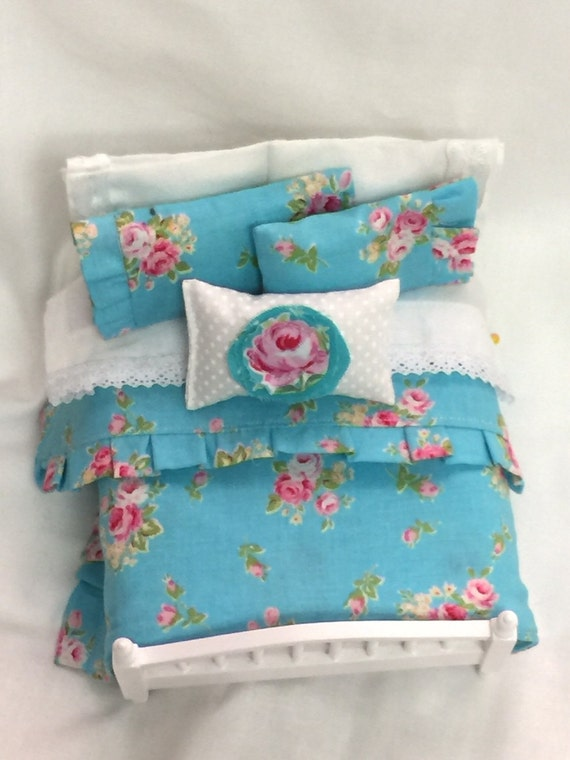 Miniature Shabby Aqua Bedding Set only-1:12 scale Miniature Dollhouse