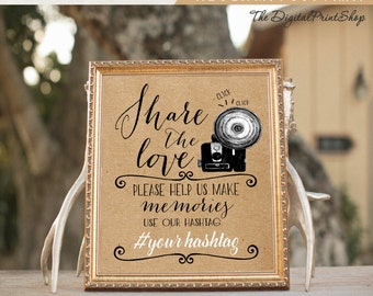 Wedding Hashtag Sign social media Sign photo share our love faux kraft paper signage Party photobooth Decoration Digital Printable #29a jpg