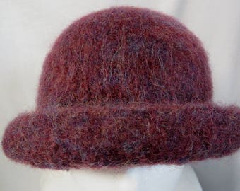 Hat Wool Felted PurpleBerry with Rolled Brim