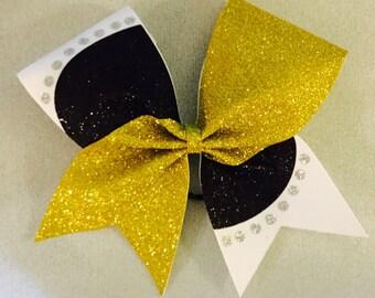 Multi color cheer bow tic toc polka dot design