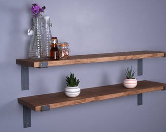 "Solid Oak Vintage Industrial Shelf 9""- 225mm - Including Metal Brackets - Handmade Shelves"