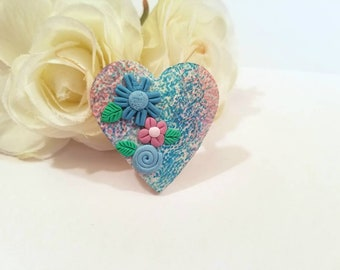 Heart Pin with Flowers, Heart Brooch with Flowers, Spring Jewelry, Gardener Gift, handmade artisan polymer clay
