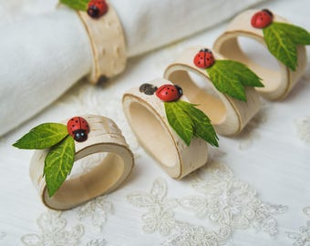 15 set Birch Napkin rings Summer outdoors Wedding table decor Wood Rustic bridal shower table decoration greenery leaves ladybird rings