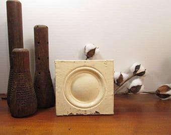 Bullseye Plinth Block, Creamy White Architectural Salvage