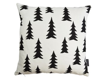 Nordic Scandinavian Swedish Modern Monochrome Gran Fir Tree cushion cover