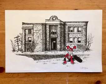 The Noid #2 print/ The Noid in Detroit print/ Detroit abandoned building print/ the noid in motor city/ avoid the noid/ Detroit art print