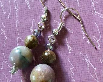 """Gray Lavender Purple Multicolor Fancy Jasper and Crystal Bead Dangle Drop Earrings 1.8"""" Long"""