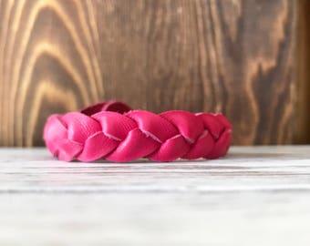 Braided leather bracelet - Ruby Grapefruit