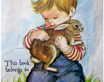 Bookplate - Boy And His bunny- Vintage Bookplates - Personalized Bookplate - Lovely Gift - Great for Photo albums, Scrapbooks, Baby Books