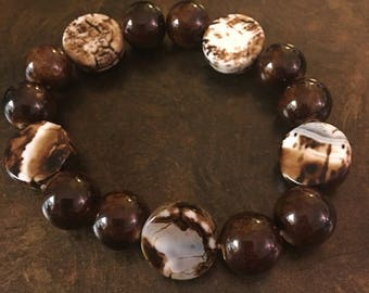 Marble brown white bracelet