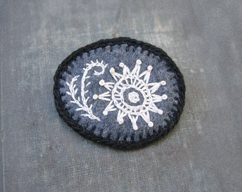 Felt Amoeba Pin, Embroidered Brooch, Black and White Jewelry, Microscopic Organism Jewelry