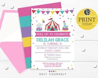 GIRL CIRCUS Birthday Invitation, Instant Download CIRCUS Invitation, Circus themed Party, Girl Circus Birthday, Pink Circus Invitation